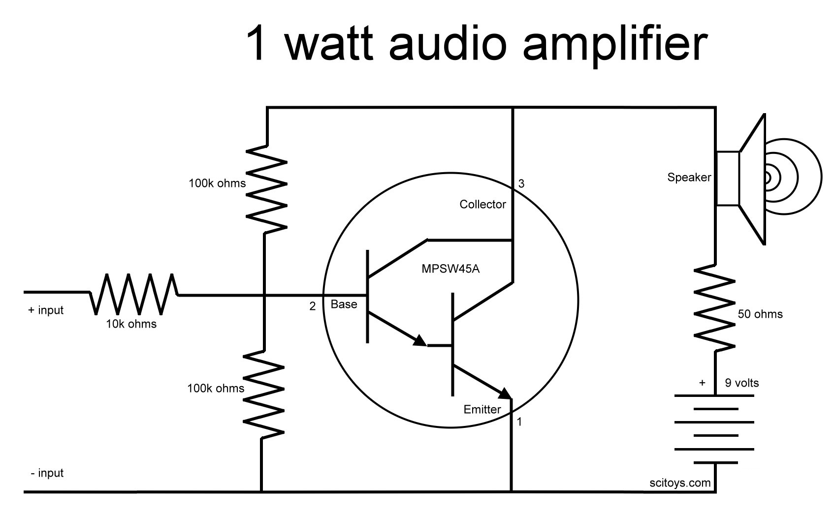 Simple Audio Amp Schematic Wire Data Schema 20022004 Ford F250 Curt T Connector Wiring Harness 55265 Chapter 10 Computers And Electronics Build A 1 Watt Rh Sci Toys Com Amplifier Power Circuit