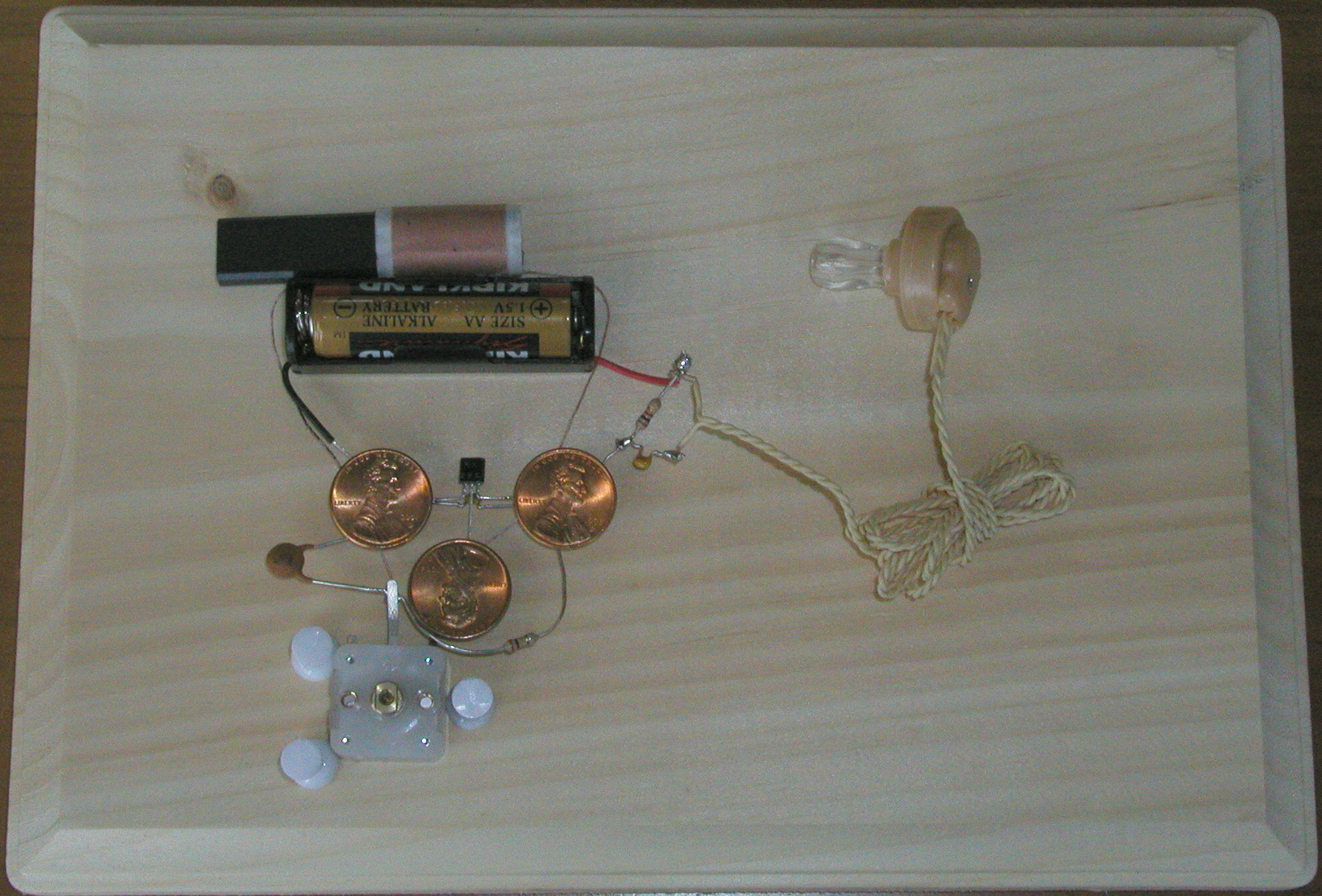 3-Penny radio.  Site even shows how you can use alternative sources for power like a home made vinegar battery.